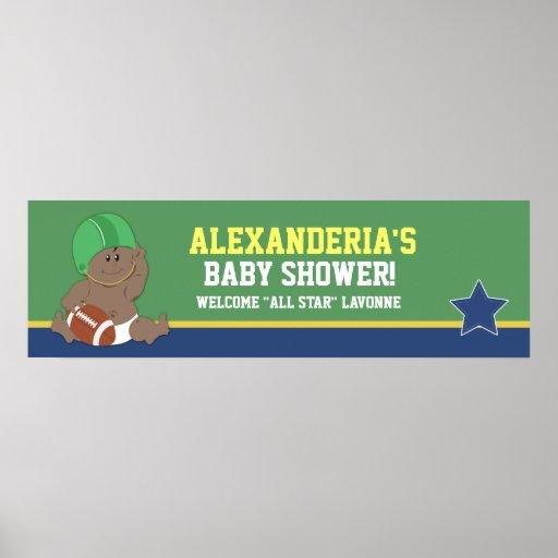 Fußball-Baby-kundenspezifischer Babyparty-Fahnen-D Plakatdrucke