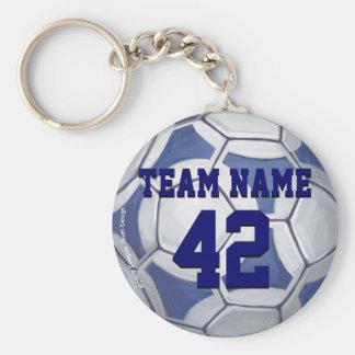 Fußball-blauer und weißer Name und Zahl Schlüsselanhänger