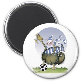 Fußball-Blues Kitty Runder Magnet 5,7 Cm