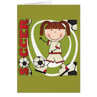 Fußball-brünette Mädchen-T - Shirts und Geschenke Karte