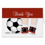 Fußball dankt Ihnen, im Rot zu kardieren Grußkarten