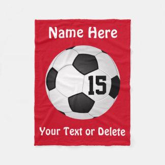 Fußball-Decke mit NAMEN, ZAHL und TEXT Fleecedecke