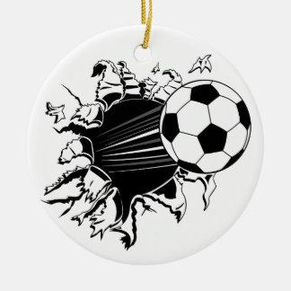 Fußball, der heraus sprengt keramik ornament