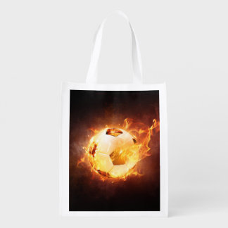 Fußball-Fußball auf Feuer Wiederverwendbare Einkaufstasche