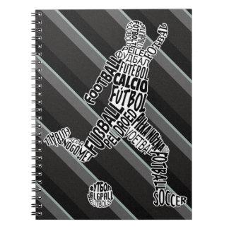 Fußball-Fußball-Typografie-Notizblock Spiral Notizblock