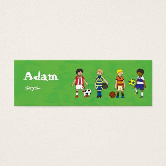 Fußball-Fußballjungen-Party-Beutetasche danken Mini Visitenkarte