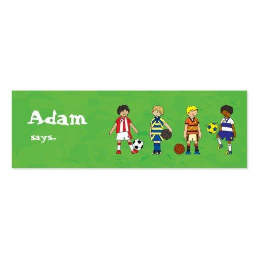 Fußball-Fußballjungen-Party-Beutetasche danken Jumbo-Visitenkarten