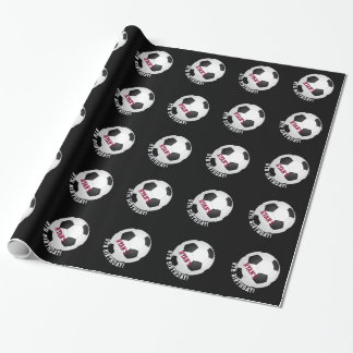Fußball-Geburtstags-personalisierter Name des Geschenkpapier