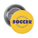 Fußball im Blau Runder Button 5,7 Cm