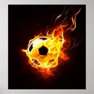 Fußball in den Flammen Poster