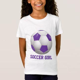 Fußball-Mädchen-Fußball-Ball lila und weiß T-Shirt