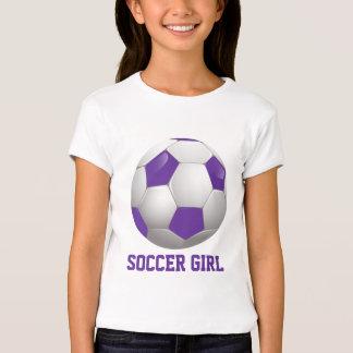 Fußball-Mädchen-Fußball-Ball lila und weiß Tshirt