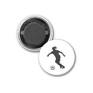Fußball-Mädchen UMBAU Spieler (weiblich) - weißer Runder Magnet 2,5 Cm