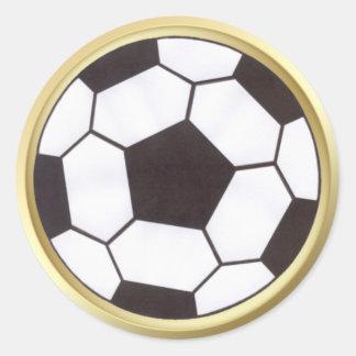 Fußball mit Goldordnungsaufkleber Runde Aufkleber