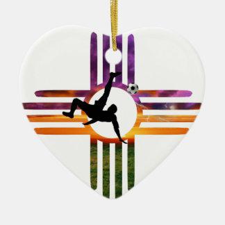 Fußball-New Mexiko Keramik Herz-Ornament