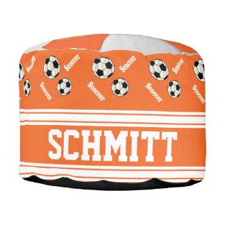 Fußball-orange, weißes und schwarzes Sport-Muster Hocker
