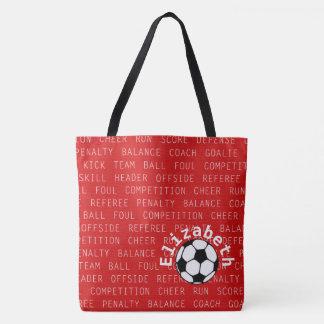 Fußball-Rot über aller Druck-Tasche Tasche