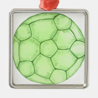 Fußball-Skizze 2 Quadratisches Silberfarbenes Ornament