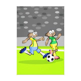 Fußball Spieler läuft mit dem Ball schnell Leinwanddruck