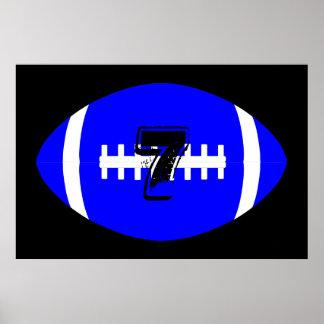 Fußball-Spieler-riesige blaue Fußball-Jersey-Zahl Poster
