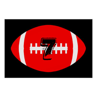 Fußball-Spieler-riesige rote Fußball-Jersey-Zahl Poster