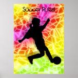 Fußball-Spieler u. Leuchtstoffmosaik Posterdrucke