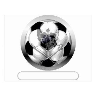 Fußball-Totenkopf mit gekreuzter Knochen Postkarte