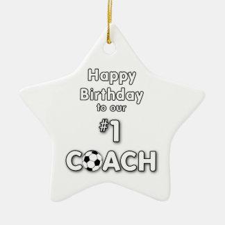 Fußball-Trainer-Geburtstag mit Gras-Feld und Ball Keramik Stern-Ornament