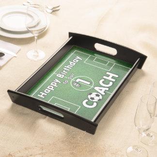 Fußball-Trainer-Geburtstag mit Gras-Feld und Ball Tablett