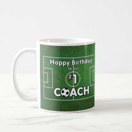 Fussball Trainer Geburtstag Mit Gras Feld Und Kaffeetasse Zazzle