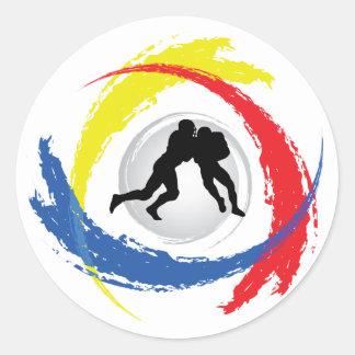 Fußball-Tricolor Emblem Runder Aufkleber