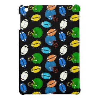 Fußball- und Sturzhelmthemaschwarzhintergrund iPad Mini Hülle