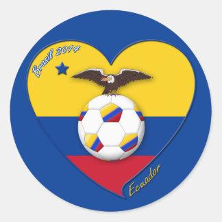 Fußball von ECUADOR. Ecuadorian National Team Socc Runder Aufkleber