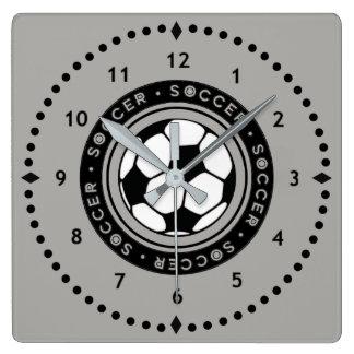 Fußball-Wanduhr-Schwarzes und Grau Quadratische Wanduhr