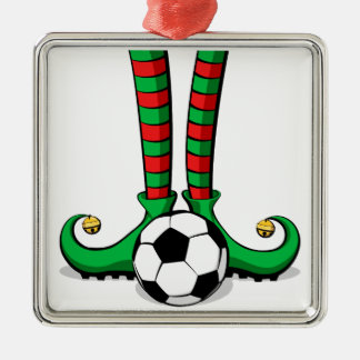 Fußball-Weihnachtself-Füße Silbernes Ornament