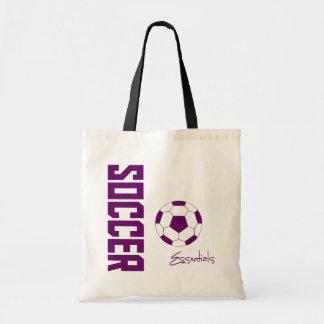 Fußball-Wesensmerkmale-Taschen-Tasche (lila) Budget Stoffbeutel