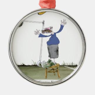 FußballmittevorwärtsBlues Silbernes Ornament