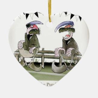 Fußballpandite Keramik Herz-Ornament