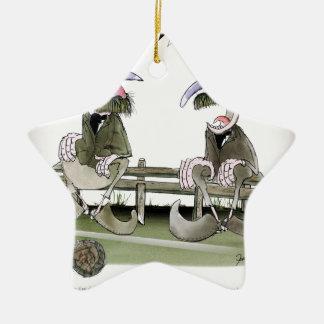 Fußballpandite Keramik Stern-Ornament