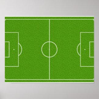 Fußballplatz-Muster auf Gras Plakat