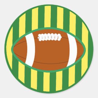 Fußballsaison-Grün-und Goldwisconsin-Aufkleber Runder Aufkleber