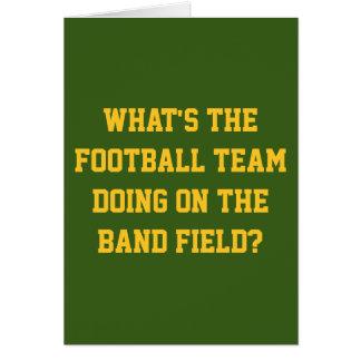Fußballteam auf Bandfeld-Grußkarte Karte