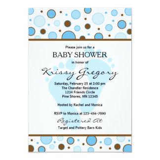Füße und Punkt-blaue Babyparty-Einladungen 12,7 X 17,8 Cm Einladungskarte