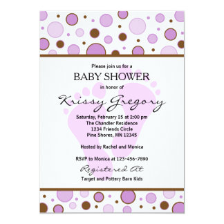 Füße und Punkt-lila Baby-Duschen-Einladungen 12,7 X 17,8 Cm Einladungskarte