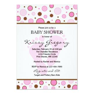 Füße und Punkt-rosa Babyparty-Einladungen 12,7 X 17,8 Cm Einladungskarte