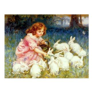 Füttern der Kaninchen Postkarte