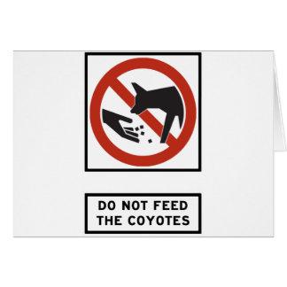 Füttern Sie den Kojoten Landstraßen-Zeichen nicht Karte