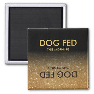 Füttern Sie HundeErinnerungs-Magnet-Schwarzes, Quadratischer Magnet