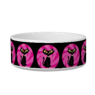Füttern Sie mir schwarze Katze auf rosa Muster Napf