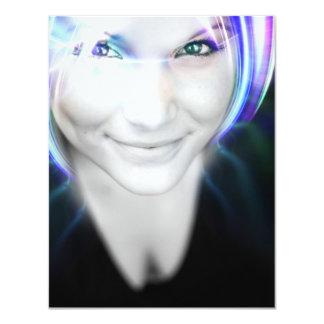 Futuristische glühende Haar-Frau 10,8 X 14 Cm Einladungskarte